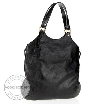 Yves Saint Laurent Black Leather Tribute Large Tote Bag
