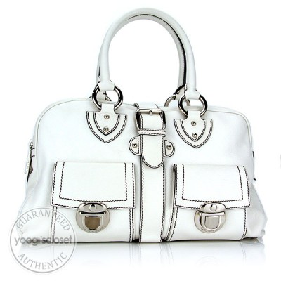 Marc Jacobs White Calfskin Leather Venetia Satchel Bag