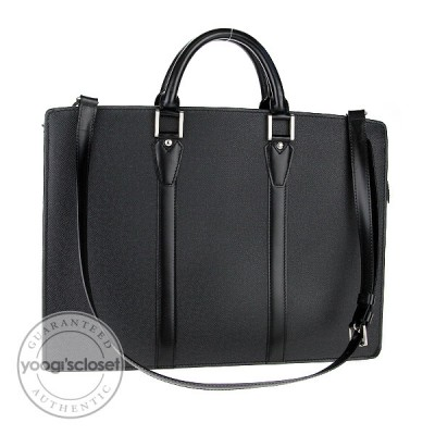 Louis Vuitton Black Taiga Leather Lozan Briefcase Bag