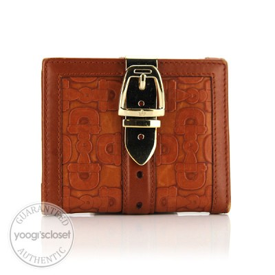 Gucci Brown Embossed Leather Horsebit Compact Wallet