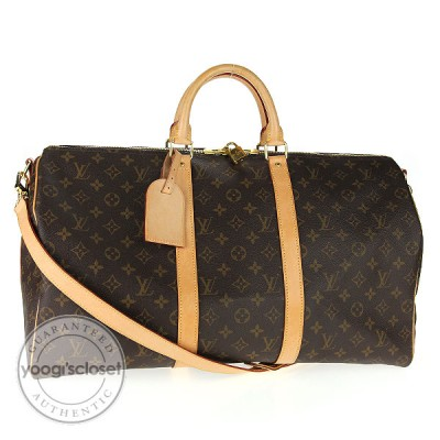 Louis Vuitton Monogram Canvas Keepall 50 w/ Shoulder Strap Bag