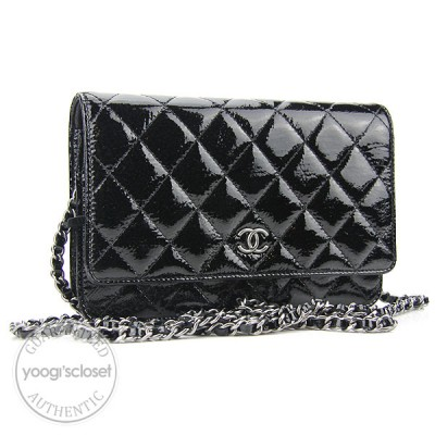 Chanel Black Patent Quilted Leather Wallet-Clutch