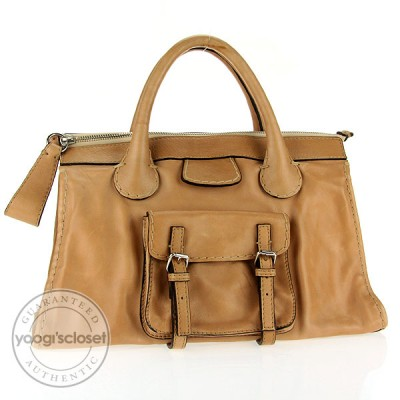 Chloe Tan Leather Edith Satchel Bag
