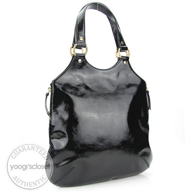 Yves Saint Laurent Black Patent Leather Tribute Tote Bag