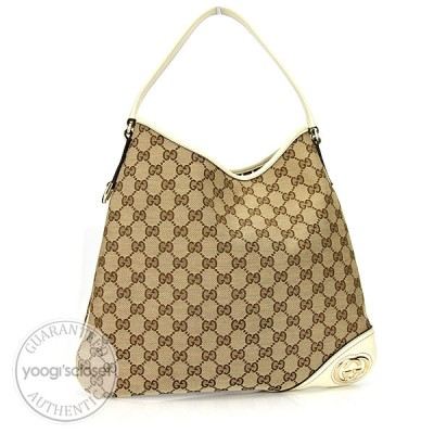 Gucci Beige/Ebony GG Fabric New Britt Hobo Bag
