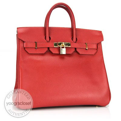 Hermes 32cm Rouge Fjord Leather Gold Hardware HAC Birkin Bag
