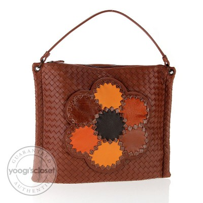 Bottega Veneta Limited Edition Brown Patchwork Flower Woven Leather Shoulder Bag