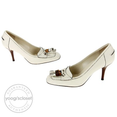 Gucci Mystic White Leather Lifford Heels Size 6
