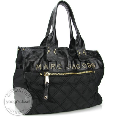 Marc Jacobs Black Quilted Nylon Signature Tote Bag