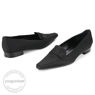 Chanel Black Nylon Leather Loafer-Style Flats Size 39/9