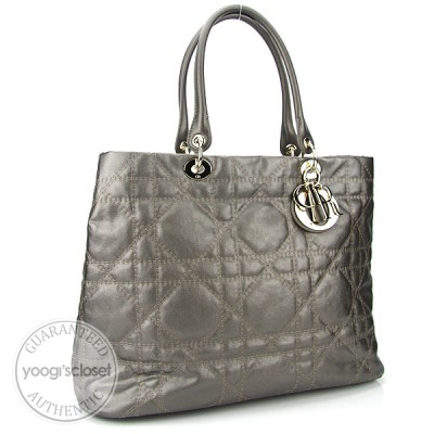 Christian Dior Chrome Cannage Coated Canvas Metropole Large Tote Bag