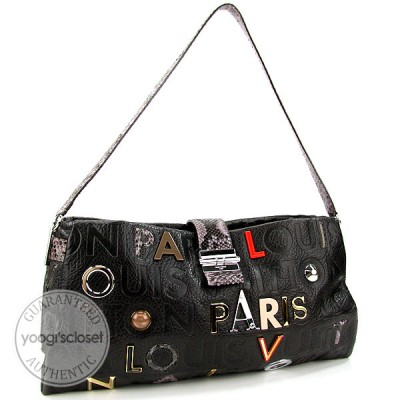 Louis Vuitton Limited Edition Black Monogram Collage Lutece Bag