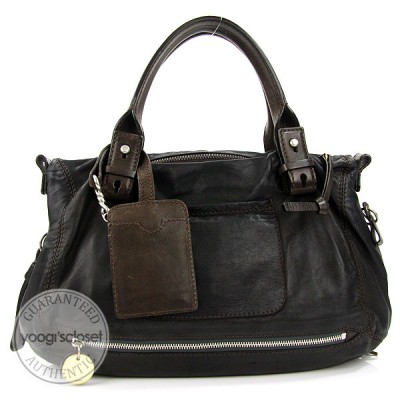 Chloe Washed Black Lambskin Tekla Medium Shoulder Bag