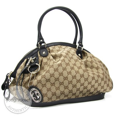 Gucci Beige GG Fabric Sukey Medium Boston Satchel Bag