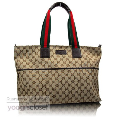 Gucci Beige/Ebony GG Fabric Baby Diaper Tote Bag