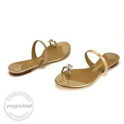 Chanel Beige Leather Thong Sandals Size 9