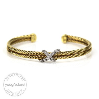 David Yurman 18K Gold with Pave Diamonds X Cable Bracelet