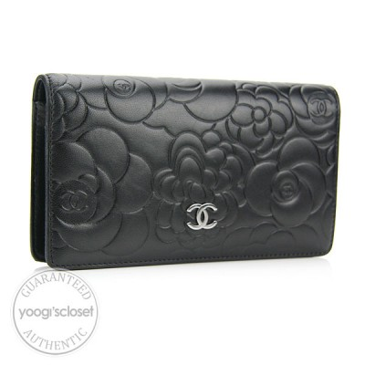 Chanel Black Lambskin Camellia Long Wallet