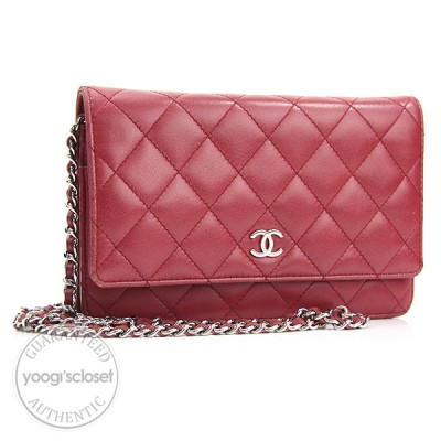 Chanel Red Quilted Lambskin Wallet-Clutch