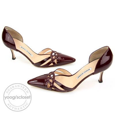 Manolo Blahnik Red Patent Leather Lillie Heels Size 11.5
