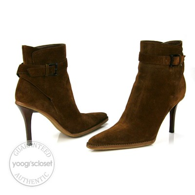 Gucci Brown Suede Ankle Boots Size 10