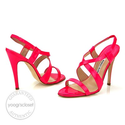 Manolo Blahnik Patent Leather Tiras Fluo Fuxia Pink Sandal Heels Size 10