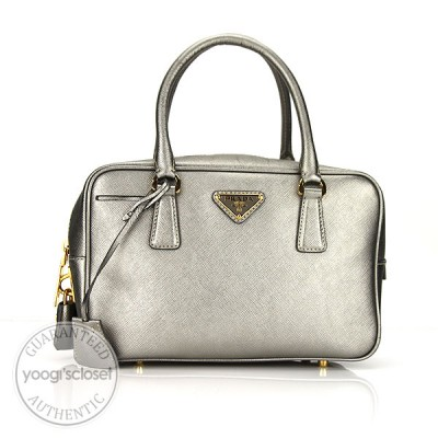 Prada Silver Saffiano Leather Small Tote Bag BN1113