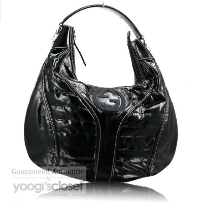 Gucci Black Patent Leather Snow Glam Medium Hobo Bag