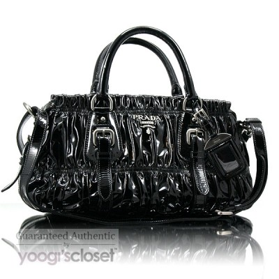 Prada Black Patent Vernice Gauffre Medium Satchel Bag