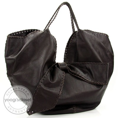 Valentino Garavani Dark Brown Whipstich 360 Large Bow Hobo Bag