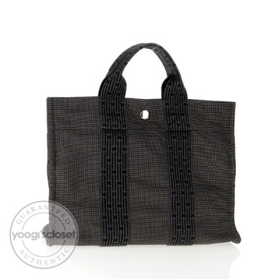 Hermes Black/Grey Small Canvas Fourre-Tout Bag