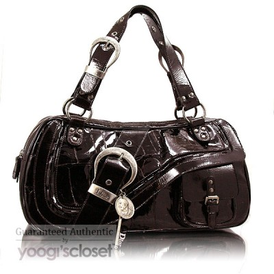 Christian Dior Dark Brown Croc-Stamped Patent Leather Gaucho Bag