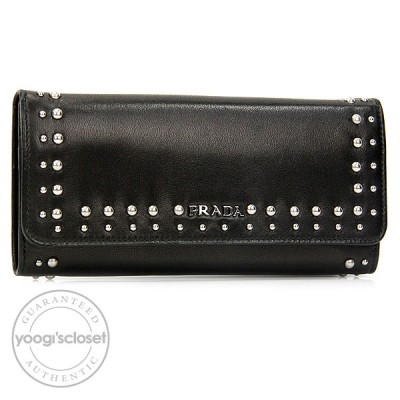 Prada Black Nappa Studded Continental Wallet 1M1132