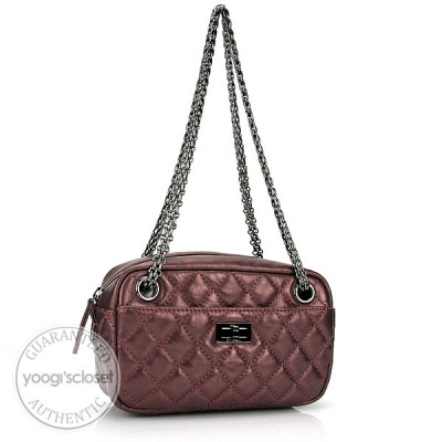 Chanel Rose Fonce Metallic Quilted Small Camera Case Bag