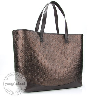 Gucci Metallic Bronze Guccissima Large Tote Bag