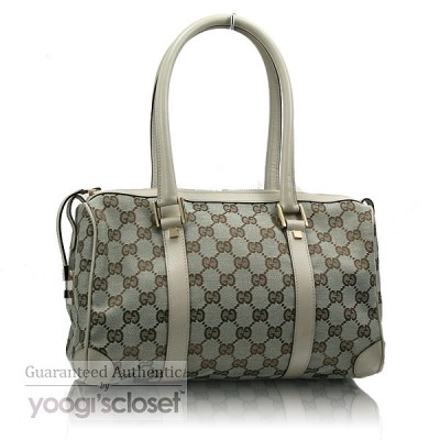 Gucci Light Grey GG Fabric Boston Bag