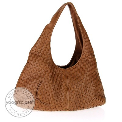 Bottega Veneta Tan Woven Leather Ball Bag