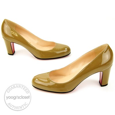 Christian Louboutin Taupe Patent Leather Miss Tack 70 Pumps Size 8