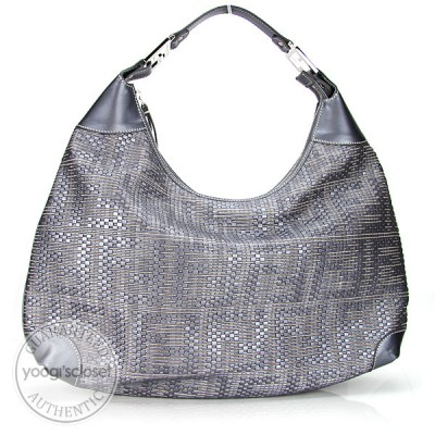 Fendi Forever Silver Woven Leather Large Hobo Bag