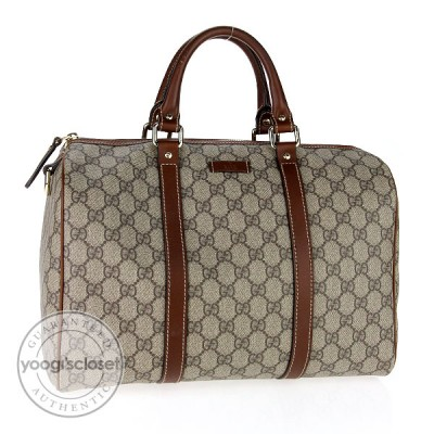 Gucci Beige/Brown Coated Canvas Joy Medium Boston Bag