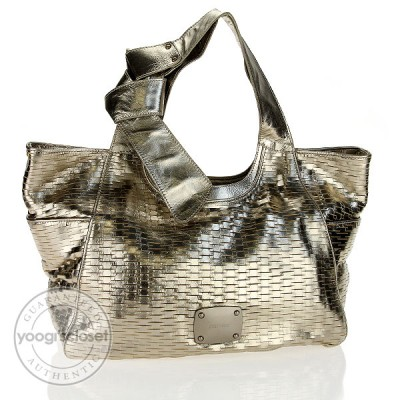 Jimmy Choo Gold Leather Keeya Tote Bag