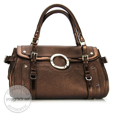 Versace Bronze Leather Satchel Bag