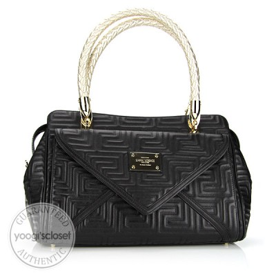 Versace Black Quilted Calfskin Trapuntato Shoulder Bag