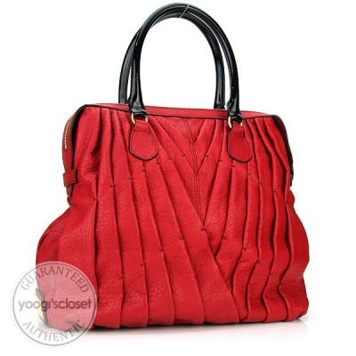 Valentino Garavani Red Leather Maison Pintucked Shopper Tote Bag