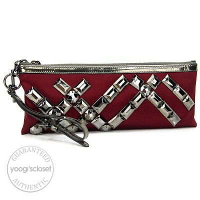 Burberry Berry Red Ashcombe Jeweled Clutch