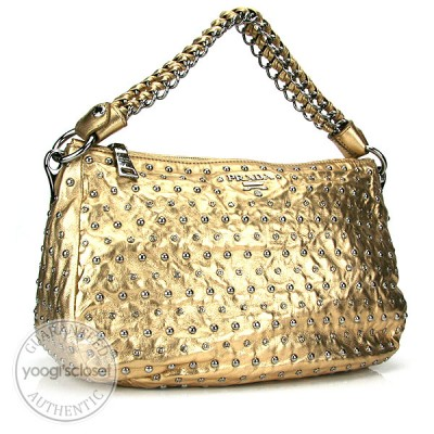 Prada Platinum Antique Nappa Studded Hobo Bag BR4345