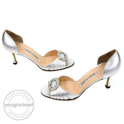 Manolo Blahnik Silver Leather Nappa Leather Sedaraby D'Orsay Heels Size 7