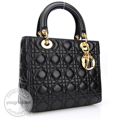 Christian Dior Black Lady Dior Cannage Lambskin Leather Tote Bag