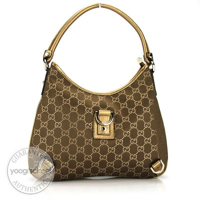 Gucci Gold GG Fabric Abbey Medium D-Ring Hobo Bag