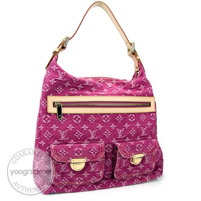 Louis Vuitton Fuschia Denim Monogram Denim Baggy GM Bag